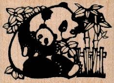 Mother & Baby Panda/Bamboo 2 1/2 x 1 3/4-0