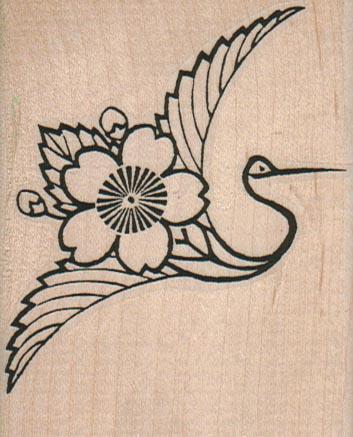 Flower Elegant Bird 2 1/2 x 3-0