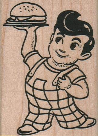 Big Boy Holding Hamburger Up 2 1/4 x 3-0