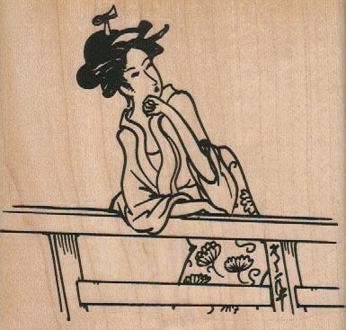 Geisha On Fence 4 x 3 3/4-0