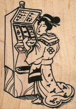 Geisha & Slot Machine 2 3/4 x 3 3/4-0