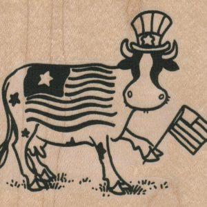 Flag Waving Cow 3 x 2 1/2-0