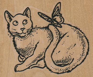 Cat With Butterfly On Tail 2 3/4 x 2 1/4-0