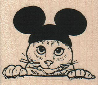 Cat With Mouse Ears 2 1/4 x 2-0