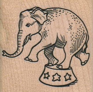 Circus Elephant Balancing 2 1/4 x 2 1/4-0