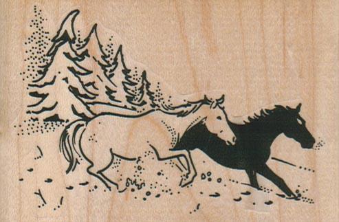 Black & White Horses Running 3 1/2 x 2 1/4-0