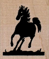 Silhouette Horse Running 1 1/2 x 1 3/4-0