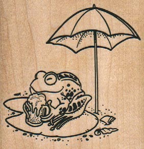 Frog Chilling With Beer/Umbrella 3 x 3-0