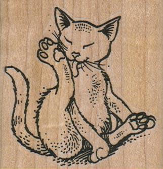 Cat Licking Foot 2 1/4 x 2 1/4-0