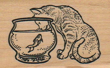 Cat Inspecting Fish Bowl 1 3/4 x 2 1/2-0
