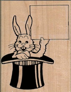 Bunny In Hat With Sign 2 3/4 x 3 1/2-0