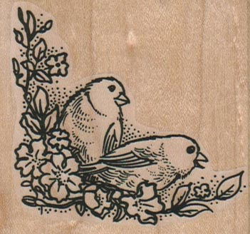 Bird Duo on Branches 2 1/2 x 2 1/4-0
