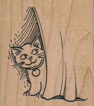 Cat Behind Curtain 2 1/4 x 2 1/2-0