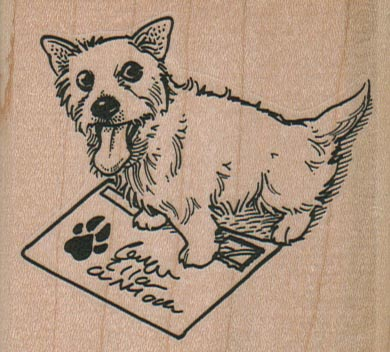 Dog With Stamped Envelope 2 3/4 x 2 1/2-0