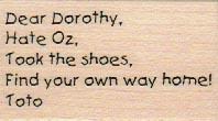 Dear Dorothy Hate Oz 1 1/4 x 2-0