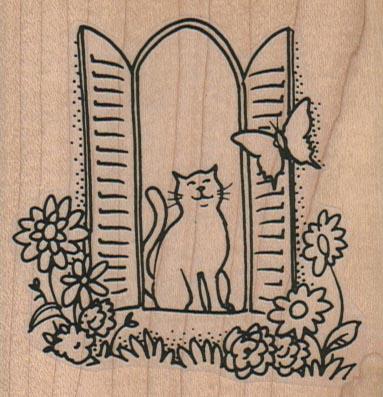 Cat Window/Butterfly 2 3/4 x 2 3/4-0