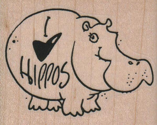 I Love Hippos 2 1/4 x 1 3/4-0