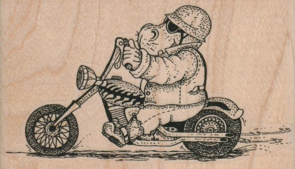 Hippo On Motorcycle 4 x 2 1/4-0