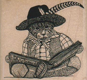 Cat Reading Book 2 1/2 x 2 1/4-0