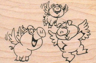 Three Flying Pigs 2 1/4 x 3 1/4-0