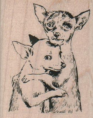 Chihuahuas Comforting 2 1/4 x 2 3/4-0