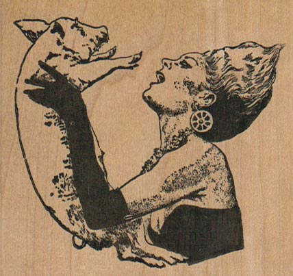 Lady With Pig 3 1/4 x 2 3/4-0