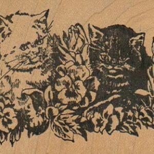 Kittens In Pansies 3 1/4 x 2 1/4-0