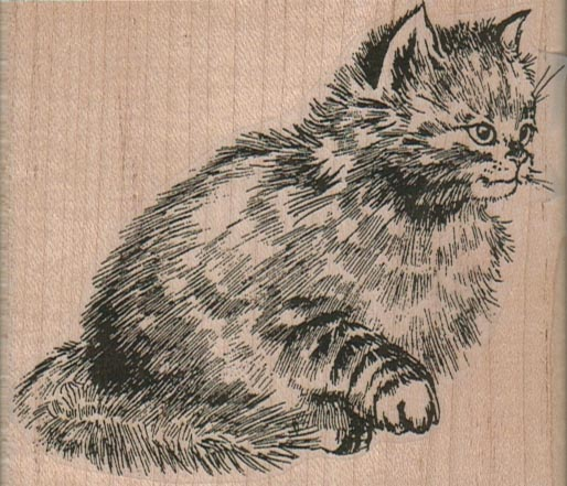 Cat With Raised Paw 3 1/2 x 3-0