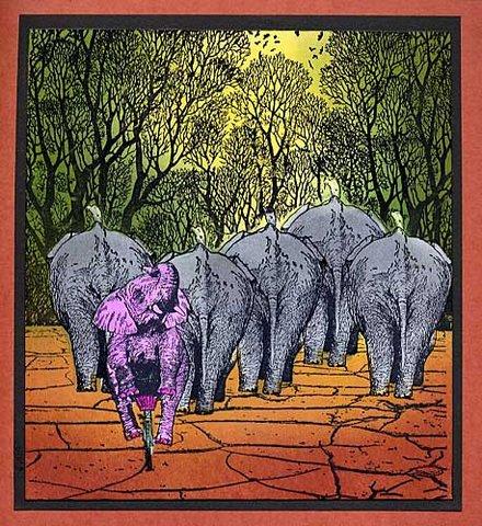 Elephant And Bird 1 3/4 x 2 1/2-35229