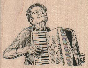 Lady Playing Accordion 3 x 2 14-0