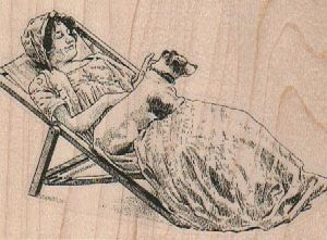 Reclining Lady with Dog 3 1/2 x 2 1/4-0