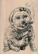 Smoking Dog With Gun 1 3/4 x 2 1/4-0