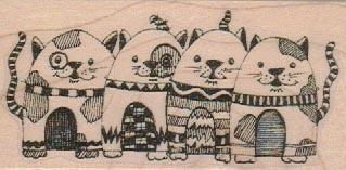 Row Of Cats 1 3/4 x 3 1/4