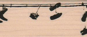 Shoes Hanging From Wire 1 1/2 x 5-0