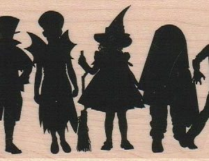Kids In Costumes Silhouette 2 1/2 x 4 1/2-0