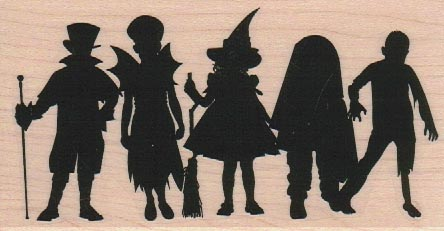 Kids In Costumes Silhouette 2 1/2 x 4 1/2