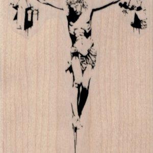 Banksy Shopping Jesus on Cross 3 1/4 x 4-0