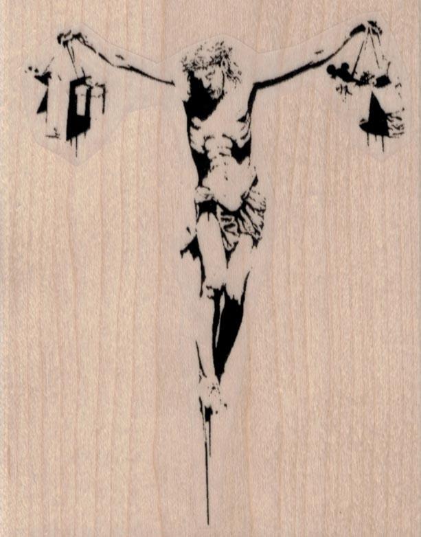 Banksy Shopping Jesus on Cross 3 1/4 x 4