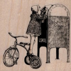 Tricycle Girl Mailing Letter 3 x 2 3/4-0