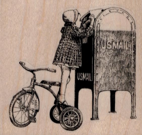 Tricycle Girl Mailing Letter 3 x 2 3/4