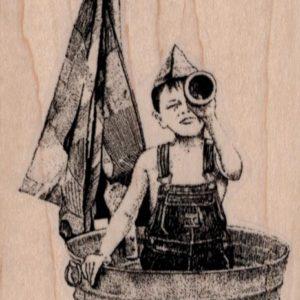 Boy in Tub Boat 2 1/2 x 3 3/4-0