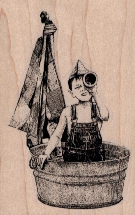 Boy in Tub Boat 2 1/2 x 3 3/4