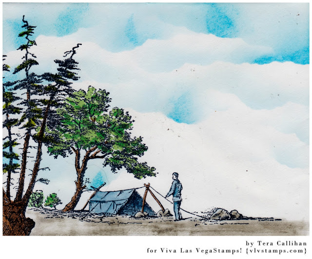 Men Setting Up Camp 3 x 5 1/4-45772
