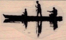 Three Men In Canoe Silhouette 1 x 1 1/2-0