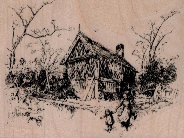 Cottage Scene 3 3/4 x 2 3/4