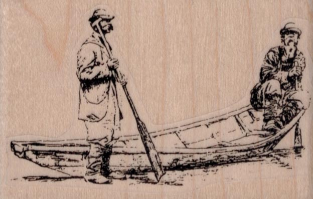 Vintage Men In Canoe 3 1/4 x 2