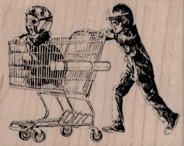 Boys Playing With Shopping Cart 3 1/4 x 2 1/2
