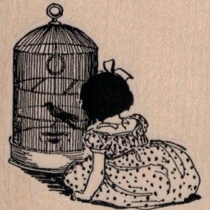 Girl With Bird Cage 2 3/4 x 2 3/4-0