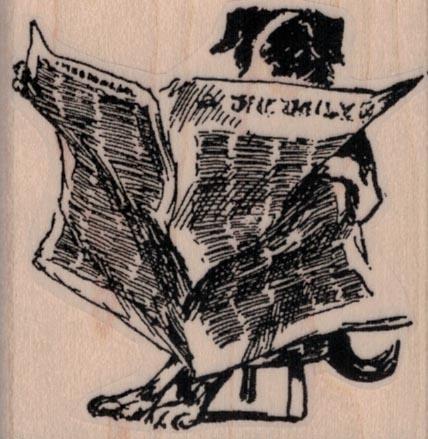 Dog Reading Paper 2 1/4 x 2 1/4