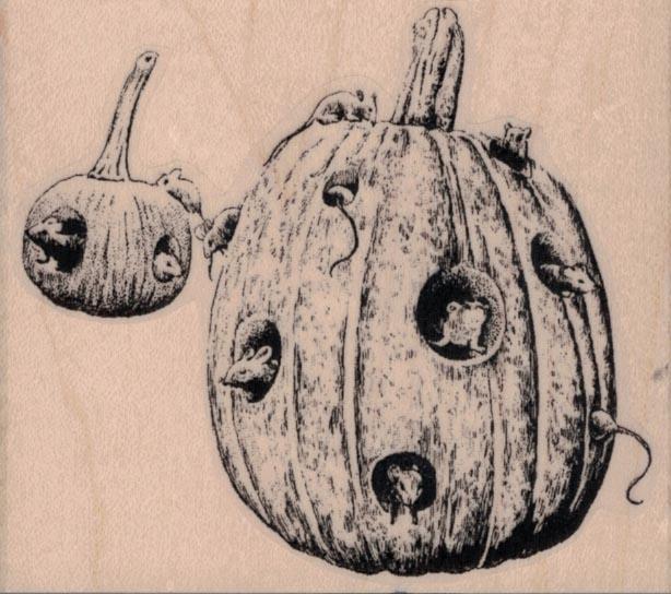 Rats In Pumpkin 3 1/4 x 2 3/4